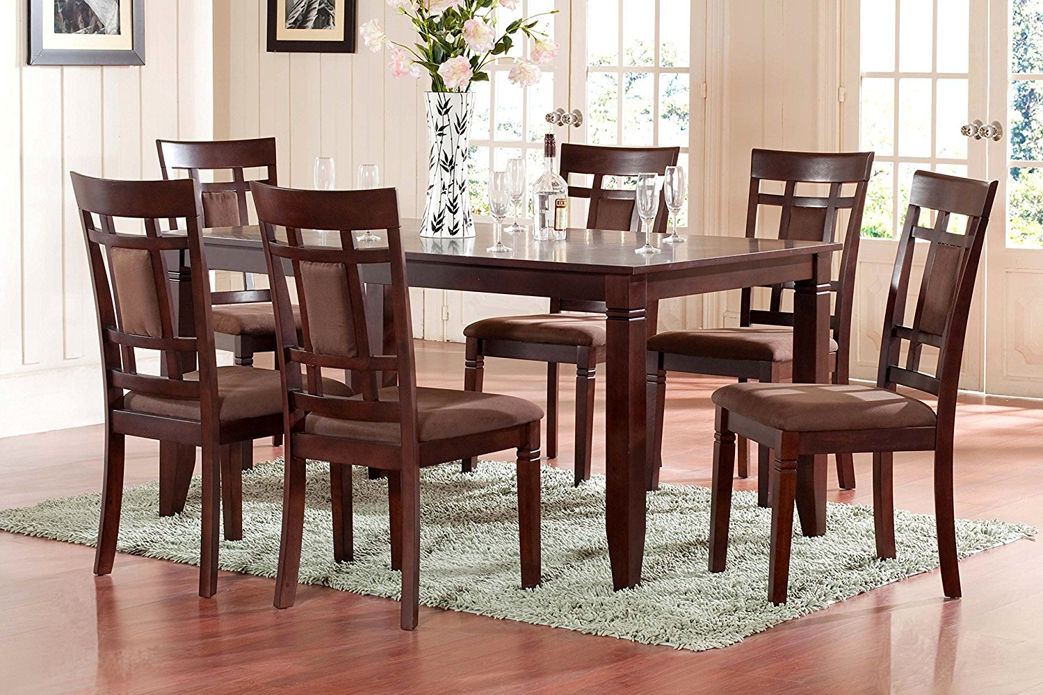 The room style 7 piece cherry finish solid wood dining for Solid wood dining table sets